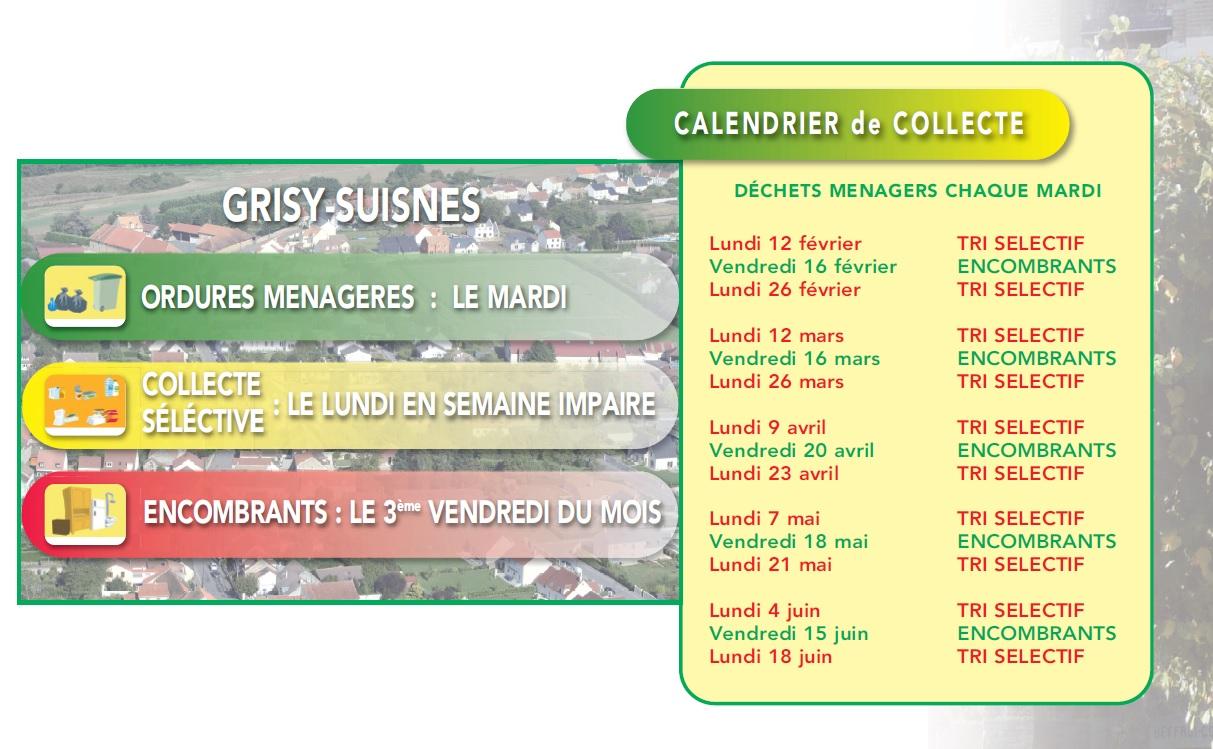Calendrier Encombrants 77.Calendrier De Collecte Mairie De Grisy Suisnes